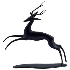 Werkstätte Hagenauer Patinated Brass Deer Marked, circa 1950s