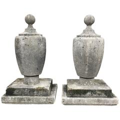 Pair of Large Statuesque English Cast Stone Art Deco Finials