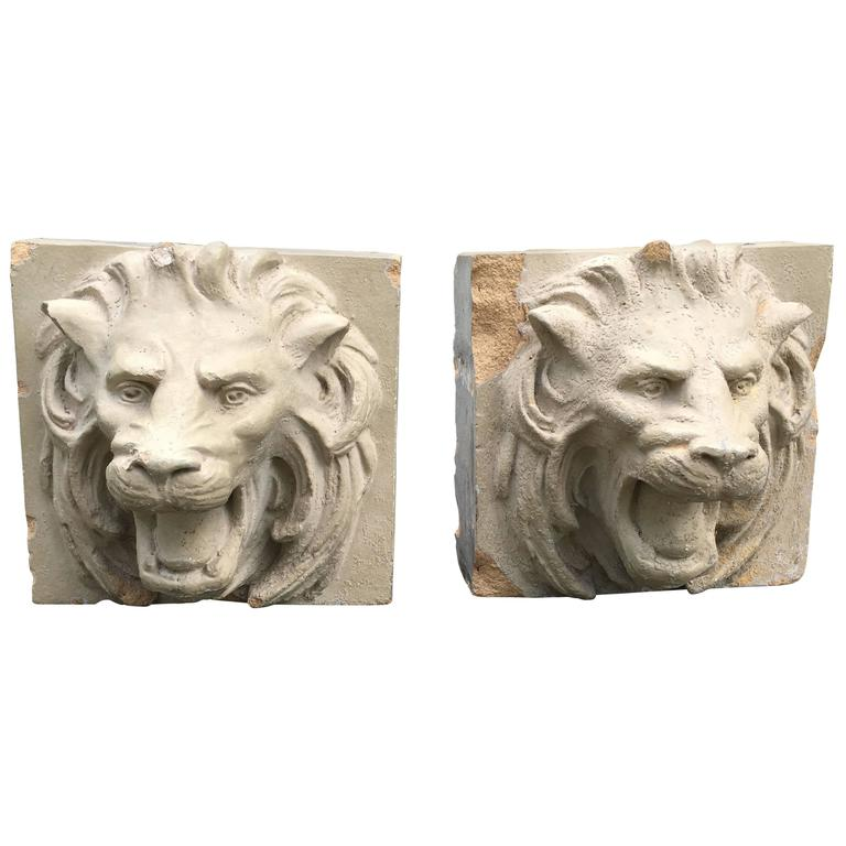 Pair of 19th Century Stoneware Lion Fountain Masks For Sale