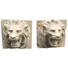 Pair of 19th Century Stoneware Lion Fountain Masks