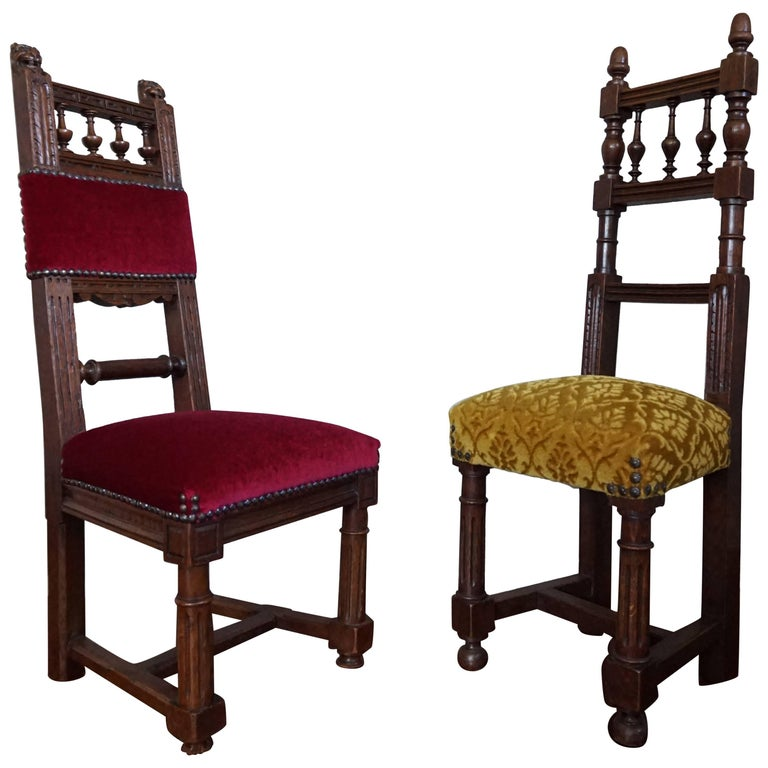 Two Excellent & Rare Handcrafted Solid Oak Chairs for Small Children or Dolls For Sale