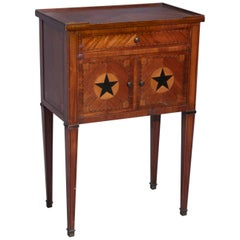 Small Antique English Walnut Commode with Inlay
