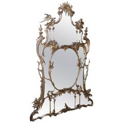 Large Antique Georgian Mirror with carved animals