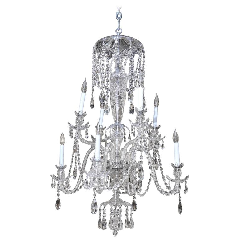 Eight Light Chandelier With Four Tiers Of Crystals And