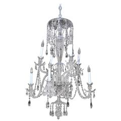 Eight-Light Chandelier with Four Tiers of Crystals and Etched Glass Body