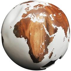 Wooden Globe White Lacquer