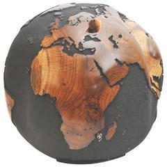 Wooden Globe on a Turning Base Black Finish