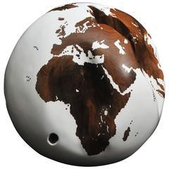 Wooden Globe on Turning Base, White Lacquer Finish