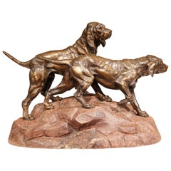 19th Century French Patinated Spelter Hunt Dogs Sculpture on Terracotta Base