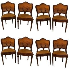 Set of Eight Louis XVI Style Bronze-Mounted Dining Chairs