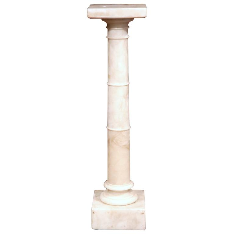 Late 19th Century French Carved White Marble Pedestal with Swivel Square Top