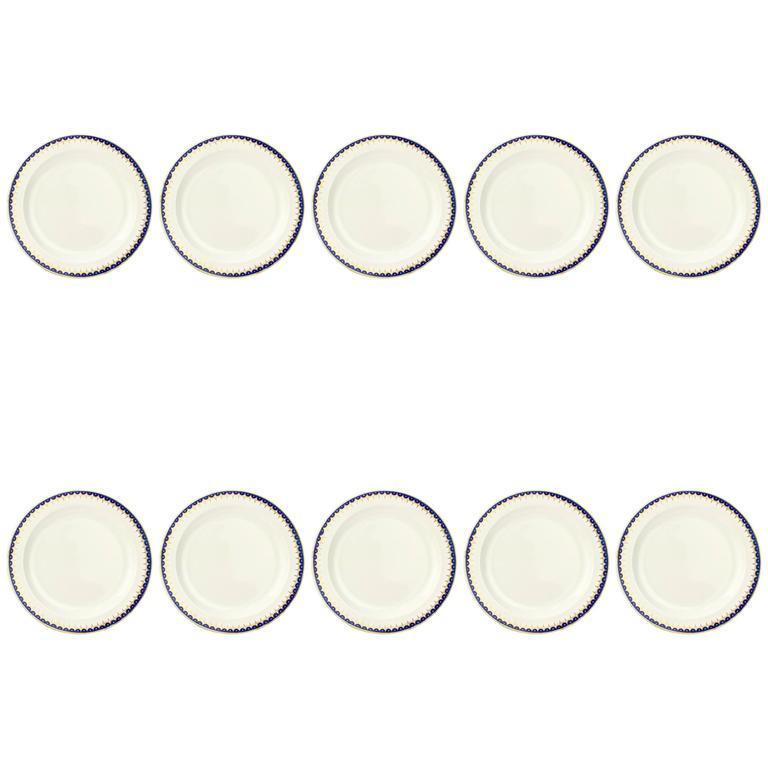 Set of Ten Early 19th Century Wedgwood Creamware Pattern No. 892 Dinner Plates