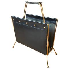 French 1950s Brass and Black Leather Magazine Holder