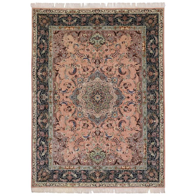 Vintage Pink Persian Tabriz Rug With Arabesque Art Nouveau Style For