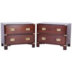 Pair of Campaign Style Mahogany Nightstands or Chests