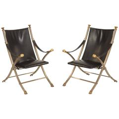 Maison Jansen Style Campaign Chairs 'Pair'
