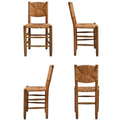 Set of Four Charlotte Perriand Bauche Dining Chairs, Mid-Century, France