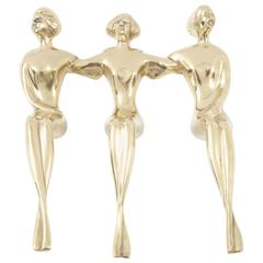 Sculpture, Brass, Three Ladies Sitting on the Edge, C 1950