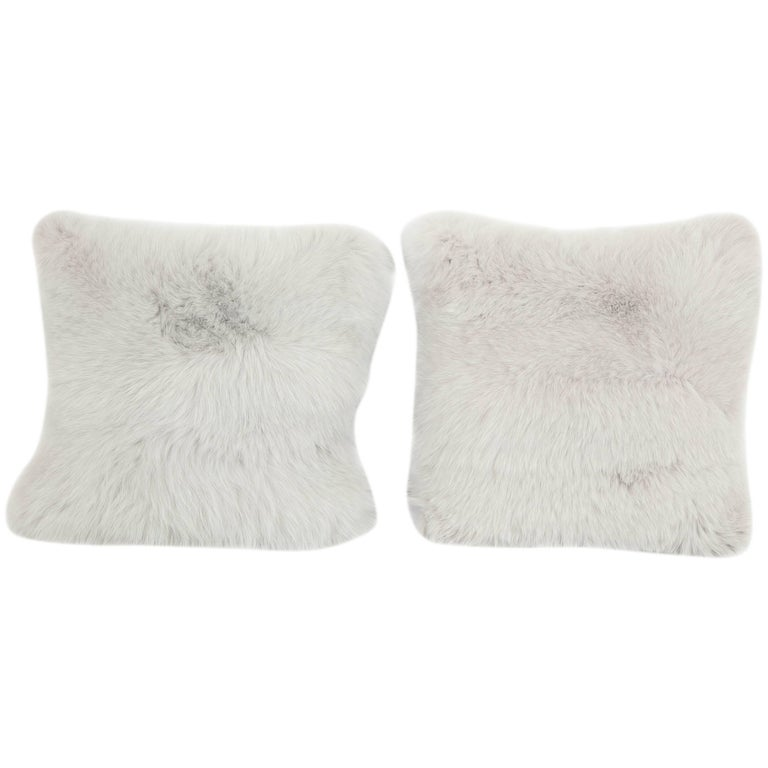 Pair of Gray Fur Pillows 1