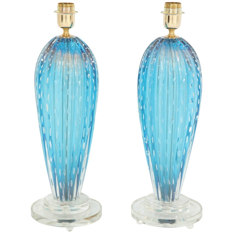Pair of Blue Murano Glass Lamps For Sale