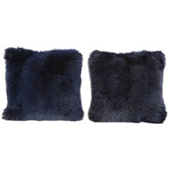 Pair of Navy Fur Pillows