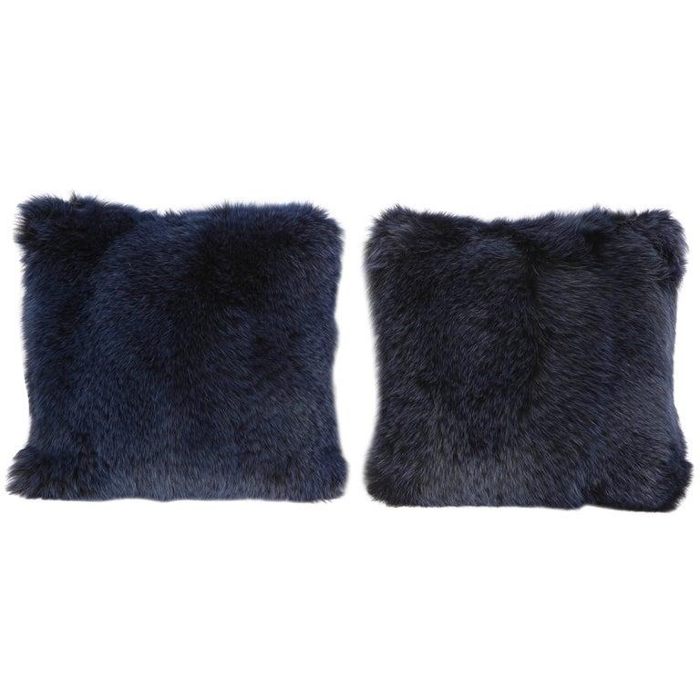 Pair of Navy Fur Pillows