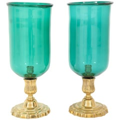A Pair of  Glass and Gilt Bronze Hurricanes