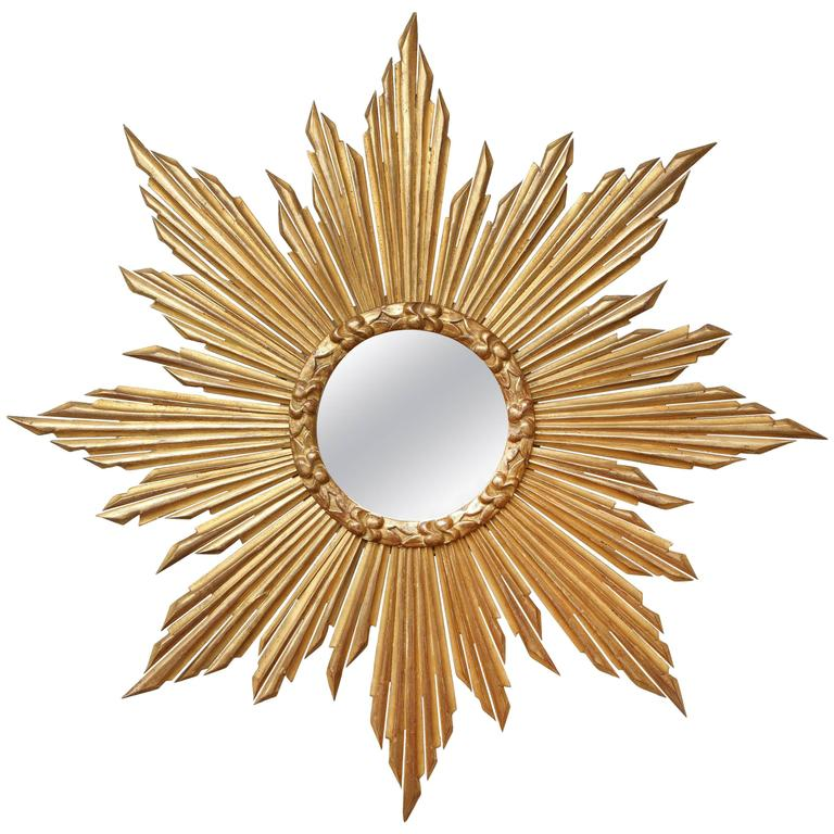 "French Giltwood ""Soleil"" Mirror For Sale"