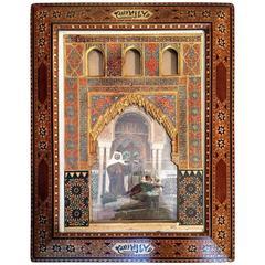 Late 19th Century Spanish Ispanic Alhambra Picture Miror Frame