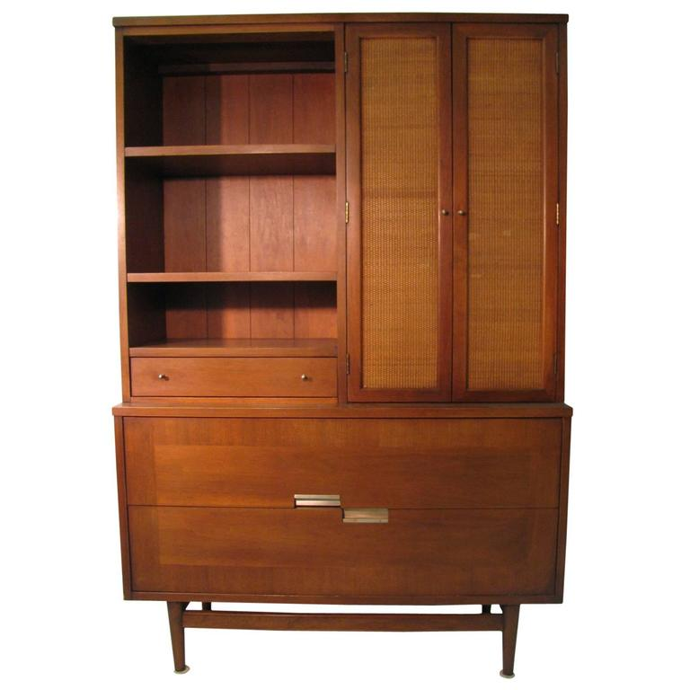 mid century modern walnut dining room cabinet credenza by