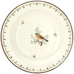 Antique Early 19th Century Wedgwood Creamware Plate or Bowl with Bird Decoration