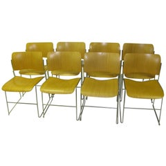 Set of Eight Mid-Century Modern 40/4 Blonde Ash Dining Chairs by David Rowland