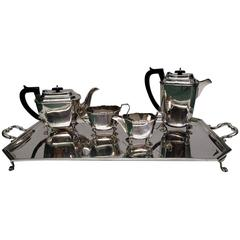 Four-Piece Heavy Solid Silver Tea Set, 1932 Duncan and Scobbie Sheffield