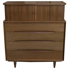 1950s Paul Laszlo Mahogany Tall Dresser with Tambour Doors