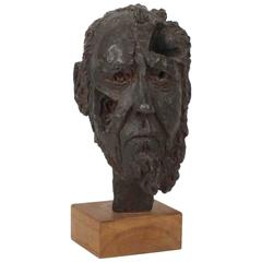 Drago Cherina Bronze Bust of Alexander Solzhenitsyn Dated 1974