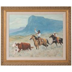 Reginald Jones 20th Century Original Oil Painting of Cowboys Roping a Steer