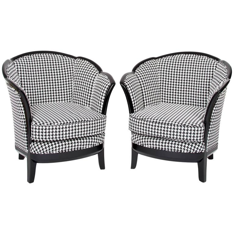 Two French Art Deco Club Chairs, France 1930s In Black White Fabric  Upholstery For