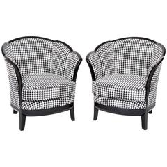 Two French Art Deco Club Chairs, France 1930s in Black-White Fabric Upholstery