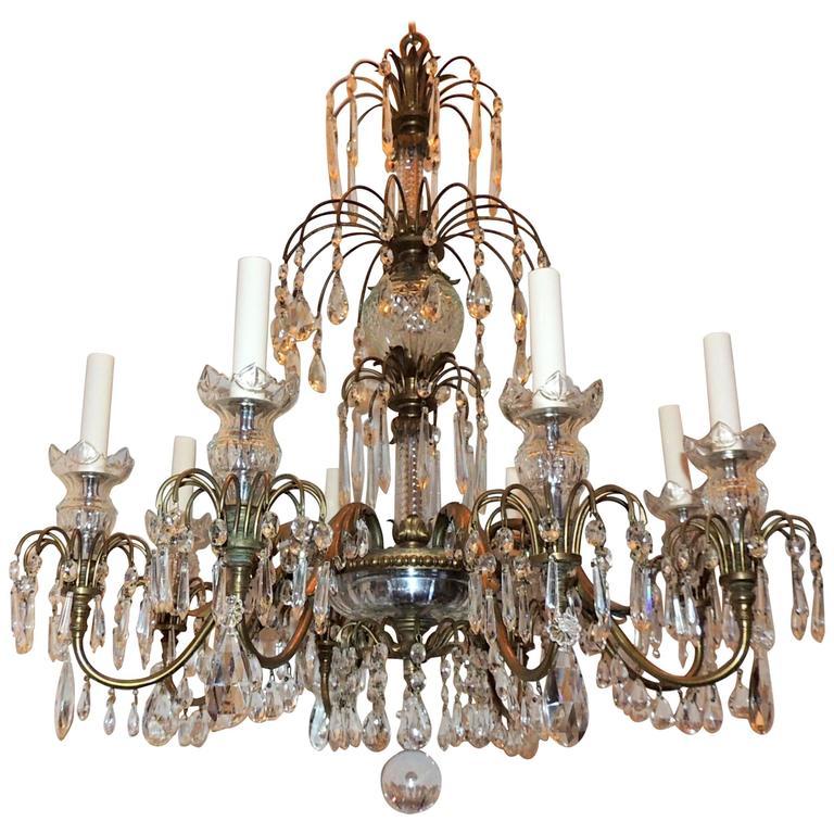 Wonderful French Neoclassical Bronze Crystal Regency Baltic Empire Chandelier