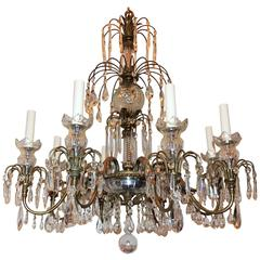 Wonderful French Neoclassical Bronze Crystal Regency Baltic Empire Chandelier