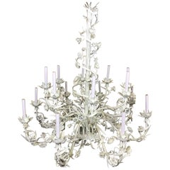 Beautiful Large-Scale Italian Sixteen Light Two-Tier White Floral Chandelier