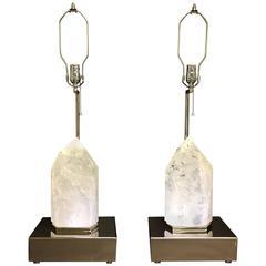 Pair of Rock Crystal Obelisk Free-Form Quartz Polished Nickel Modern Lamps