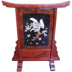 Antique Lacquered Shibayama Screen