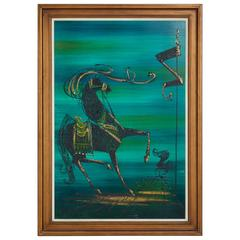 Modernist Abstract Equestrian Themed Painting with Gold Detailing