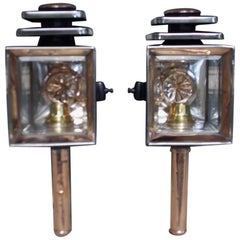 Pair of American Nickel Silver and Copper Coach Lanterns, Phil, Circa 1860