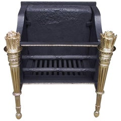 French Cast Iron and Brass Decorative Flame Torchiere Coal Grate, Circa 1820