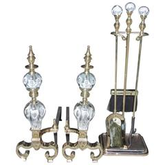 Set of American Brass and Crystal St. Clair Andirons with Tool Set, Circa 1900