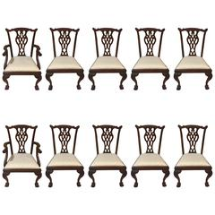 Set of Ten Mahogany English Chippendale Dinning Room Chairs