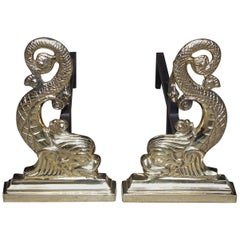 Pair of American Brass and Iron Dolphin Fire Place Andirons, Circa 1850