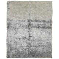 Silver Turkish Cotton Silk Rug